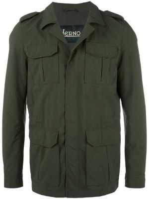 Куртка в стиле милитари Herno. Цвет: зелёный