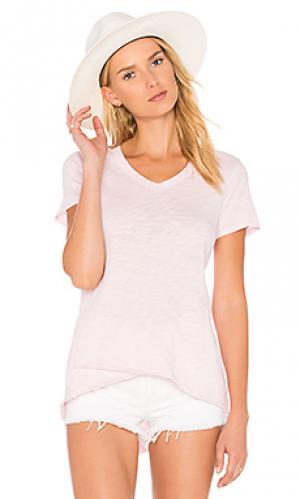 Рваная футболка с v-вырезом и ложным подолом Wilt. Цвет: розовый