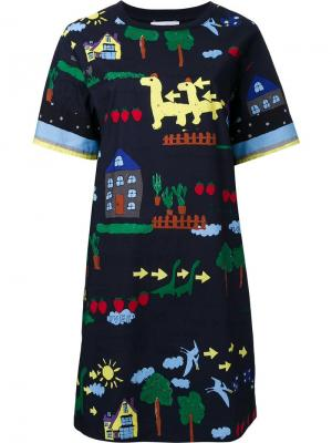 Платье-футболка с принтом Muveil. Цвет: синий