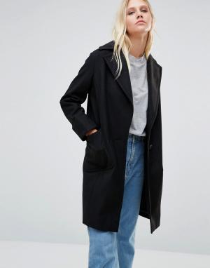 Cooper & Stollbrand Черное пальто Drop Break. Цвет: черный
