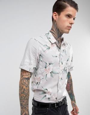 AllSaints Рубашка классического кроя с короткими рукавами и цветочным принтом Al. Цвет: серый