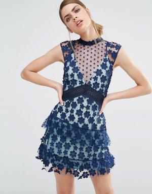 Self Portrait Платье мини в стиле 60-х. Цвет: темно-синий