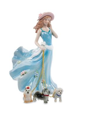Статуэтка Дама с собаками Pavone. Цвет: бежевый, голубой