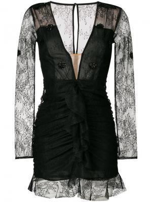 Приталенное кружевное платье с V-образной горловиной For Love And Lemons. Цвет: чёрный