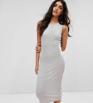 Daisy Street Tall Длинное облегающее платье. Цвет: серый