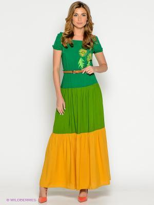 Платье Наталья Новикова. Цвет: зеленый, оранжевый