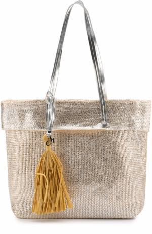 Металлизированная сумка-шоппер Deha. Цвет: серебряный