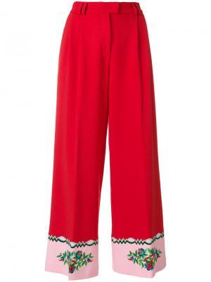 Широкие брюки с вышивкой Vivetta. Цвет: красный