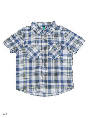Рубашка United Colors of Benetton. Цвет: синий, белый, желтый