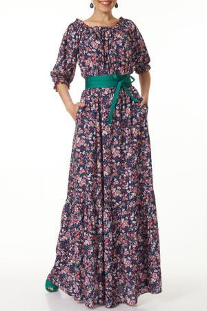Удлиненное платье с поясом Argent. Цвет: синий