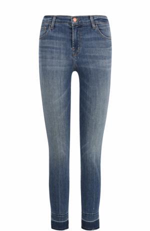 Укороченные джинсы-скинни с необработанным краем J Brand. Цвет: синий