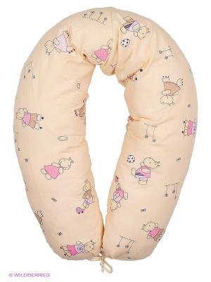 Подушка для беременных и кормления 40 недель. Цвет: бежевый, розовый