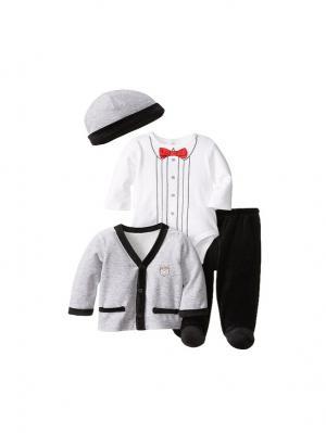 Комплект из 4-х предметов Маленький принц Little Me. Цвет: серый, белый, черный