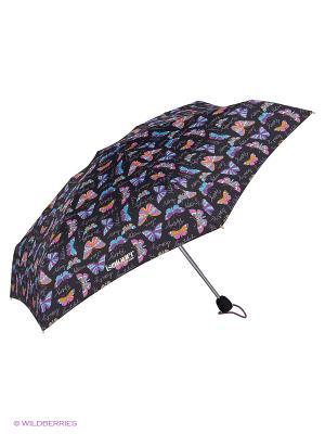 Зонты Isotoner. Цвет: голубой, черный, оранжевый, фиолетовый