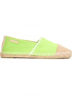 Эспадрильи с контрастным носком Heidi Klein. Цвет: зелёный