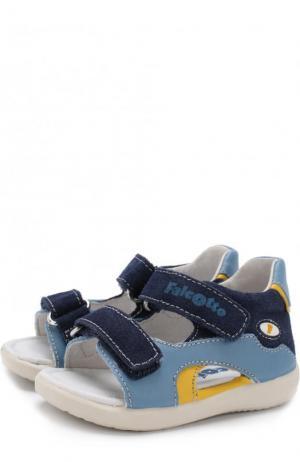 Кожаные сандалии с замшевой отделкой и застежками велькро Falcotto. Цвет: синий