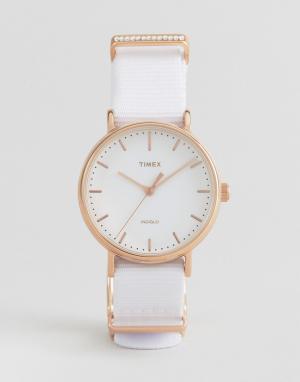 Timex Часы с парусиновым ремешком TW2R49100. Цвет: белый