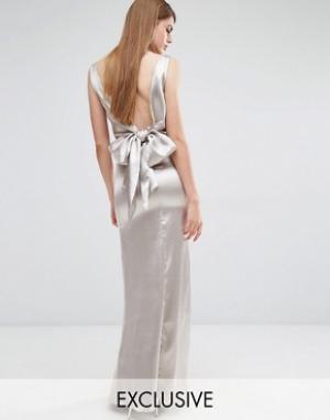 True Violet Драпированное платье макси с завязкой сзади. Цвет: stone