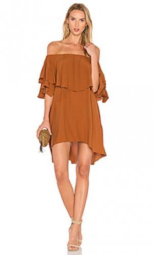 Платье maison MLM Label. Цвет: коричневый