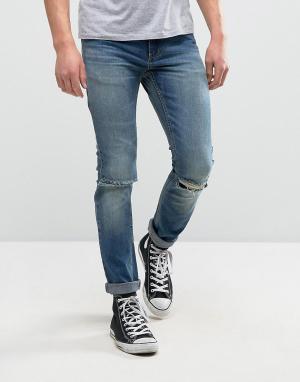 Rollas Узкие джинсы Thin Captain. Цвет: синий