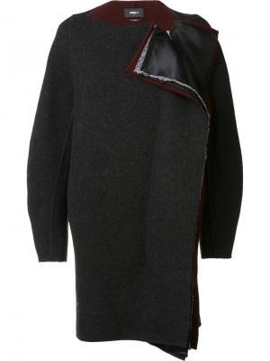 Пальто свободного кроя без воротника Yang Li. Цвет: серый