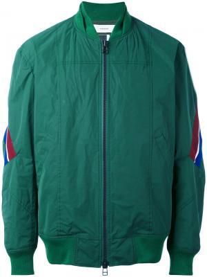 Куртка-бомбер с полосками Facetasm. Цвет: зелёный