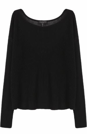 Пуловер фактурной вязки с вырезом-лодочка Rag&Bone. Цвет: черный