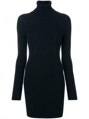 Вязаное платье-водолазка в рубчик Dondup. Цвет: синий