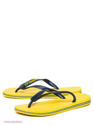 Шлепанцы Havaianas. Цвет: желтый, темно-синий