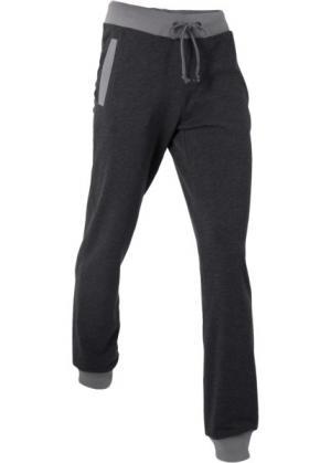 Длинные спортивные брюки (черный меланж) bonprix. Цвет: черный меланж