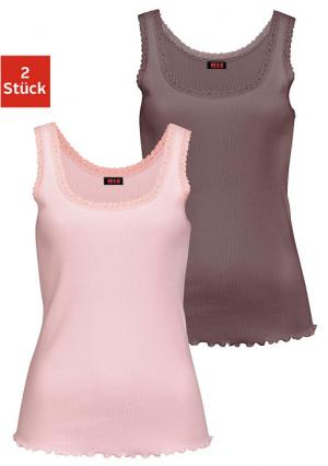 Майка, 2 штуки H.I.S.. Цвет: розовый+серо-коричневый
