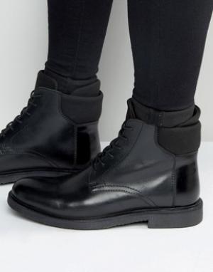 ASOS Черные кожаные ботинки на шнуровке с неопреновыми манжетами. Цвет: черный
