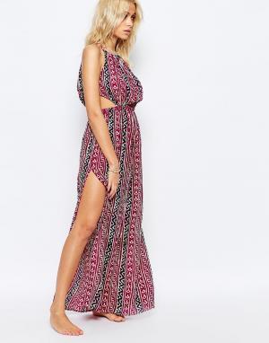 Akasa Пляжное платье макси с принтом. Цвет: мульти