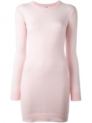 Трикотажное платье в рубчик Courrèges. Цвет: розовый и фиолетовый