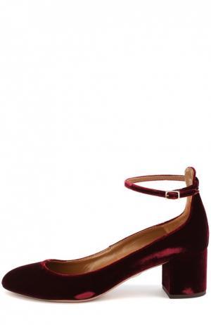 Бархатные туфли Alix с ремешком на щиколотке Aquazzura. Цвет: бордовый