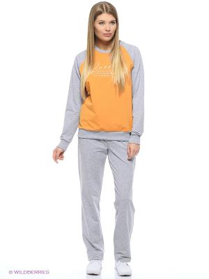 Свитшот Runika. Цвет: серый, оранжевый