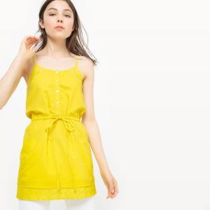 Туника с вышивкой из хлопка MADEMOISELLE R. Цвет: желтый