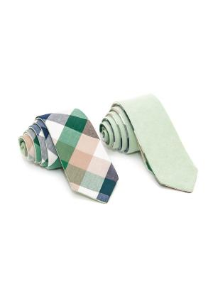 Галстук двухсторонний Churchill accessories. Цвет: зеленый, белый, горчичный, желтый, золотистый, оливковый, оранжевый, салатовый, серо-зеленый, хаки