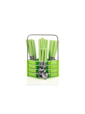 Набор столовых приборов на подставке Flore Plus,24 предмета (зеленый) Elff Ceramics. Цвет: салатовый, бронзовый, оливковый
