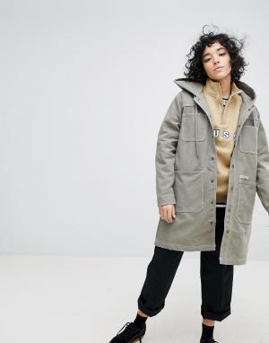Stussy Длинное пальто с капюшоном и логотипом. Цвет: серый