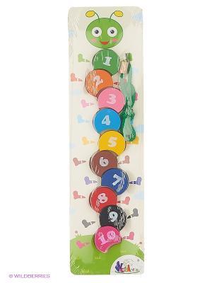 Деревянная игрушка  вкладыши, шнуровка цифры Фабрика Фантазий. Цвет: зеленый