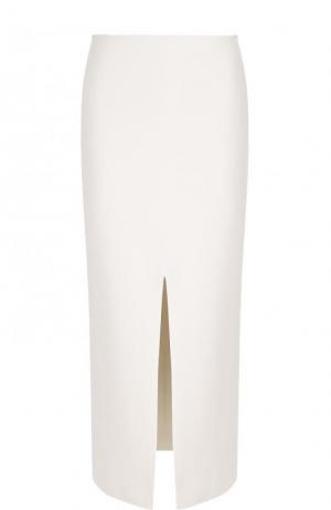 Однотонная юбка-миди с высоким разрезом Proenza Schouler. Цвет: белый