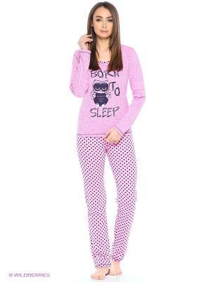Утепленный комплект домашней одежды ( кофта, брюки) HomeLike. Цвет: розовый