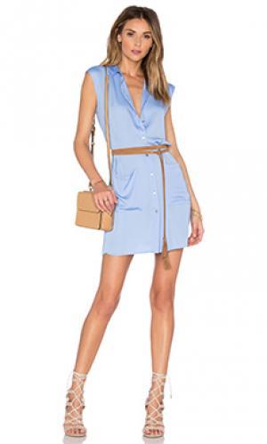 Платье-рубашка the sleevless LAcademie L'Academie. Цвет: синий