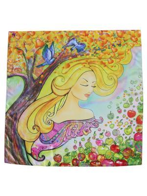 Платок с авторским арт-принтом Яблочный Август Оланж Ассорти. Цвет: светло-зеленый, голубой, желтый