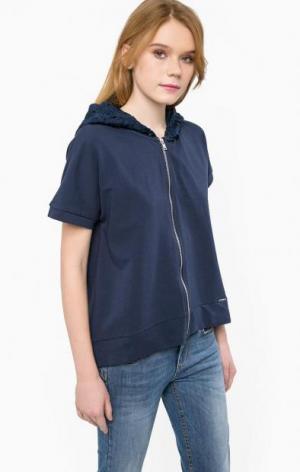 Хлопковая толстовка с короткими рукавами Liu Jo Jeans. Цвет: синий