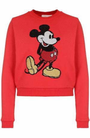 Хлопковый пуловер с вышивкой пайетками Marc Jacobs. Цвет: красный