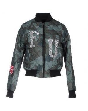 Куртка FOLLOW US. Цвет: зеленый-милитари