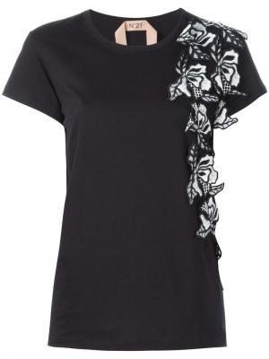 Декорированная футболка с цветами Nº21. Цвет: чёрный