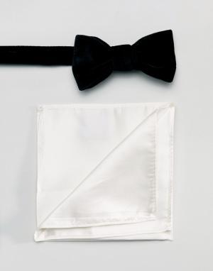 Gianni Feraud Черный бархатный галстук-бабочка и белый платок для нагрудного кармана. Цвет: черный